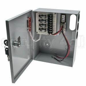 Sursa alimentare 12V 3A cu back-up, cutie metalica, 4 iesiri pe sigurante, usa cu cheie, SMPS 1203-04