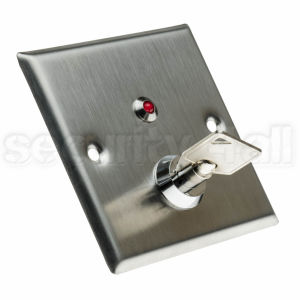 Buton control acces inox cu cheie si LED, ingropat, DR-K1