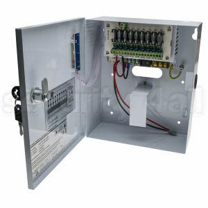 Sursa alimentare 12V 5A cu back-up, cutie metalica, 9 iesiri pe sigurante, usa cu cheie, SMPS 1205-09