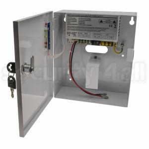 Sursa alimentare 12V 5A cu back-up in cutie metalica, 1 iesire, usa cu cheie, SMPS 1205-01