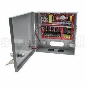 Sursa alimentare 12V 3A in cutie metalica, 4 iesiri pe sigurante, usa cu cheie, SMPS 12V 3A -C4