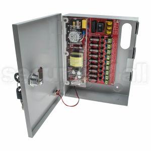 Sursa alimentare 12V 5A in cutie metalica, 9 iesiri pe sigurante, usa cu cheie, SMPS 12V 5A -C9